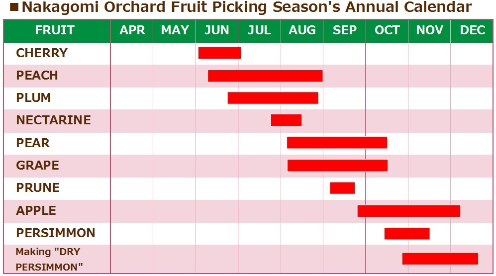 Nakagomi Orchard Fruit Picking Season's Annual Calendar